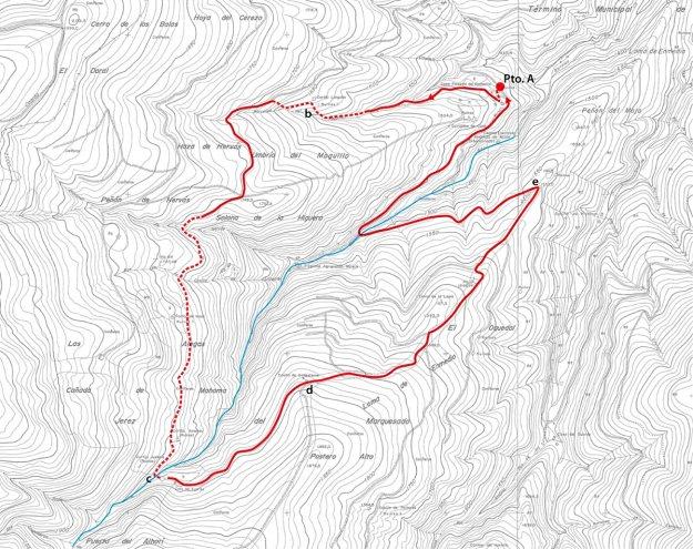 El Pto. A es el Posterillo. El río Alhorí está marcado en azul, y d es la Casilla de Ballesteros, punto más alto de la ruta y a tiro de piedra del refugio Postero Alto.