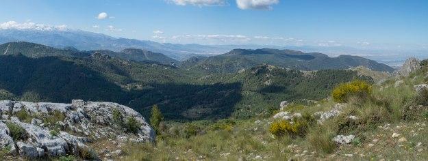 Y aquí la segunda parte: a la izquierda continúan los cerros que guardan la Umbría del Polvorite, acabando en el Corzo con su garita. Por detrás el Alto de Casa Fuerte, dando paso a la melladura que es el intuido valle del Darro. Desde ahí y a la derecha se despliegan todas las Sierras de Víznar, Alfacar y la Yedra, con el Cerro del Tamboril en primer plano.